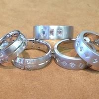 group of rings on display