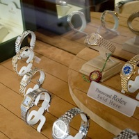 designer watches on display