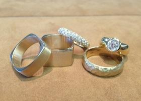 group of wedding rings on display