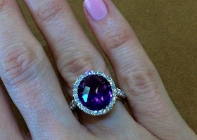 custom ring on woman's finger