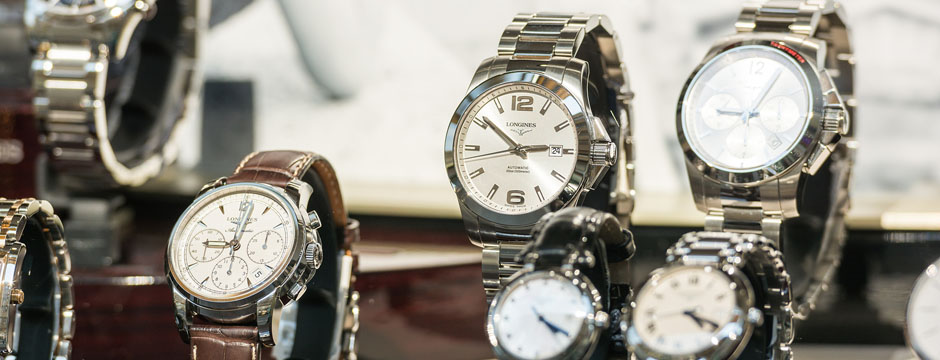 Longines Watches In Shop Window Display